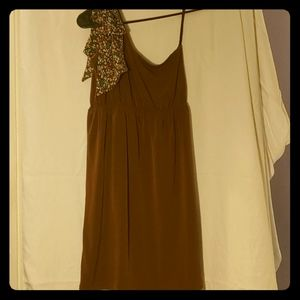 Brown one shoulder Judith March dress